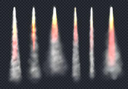 Ilustración de Launch rocket smoke. Aircraft flying effect fog and fire speed flowing sky steam vector realistic templates. Rocket smoke, flight start up, spaceship takeoff illustration - Imagen libre de derechos