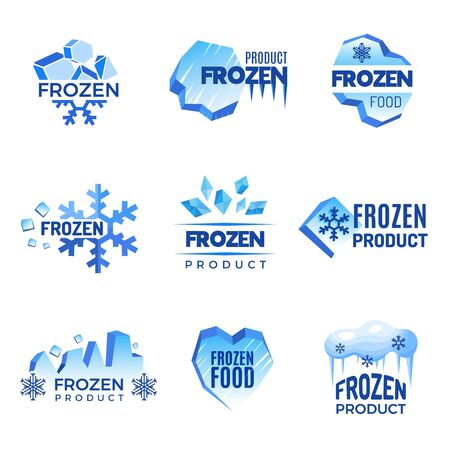 Illustration pour Ice logo. Frozen product abstract badges cold and ice vector symbols. Ice cold crystal badge for product frozen illustration - image libre de droit