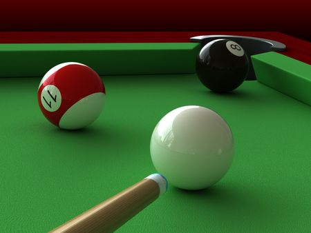 3d render of billiard balls and table