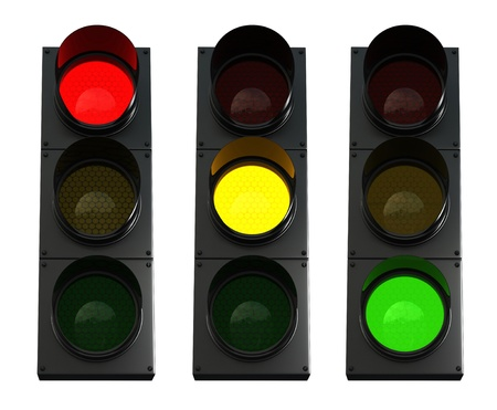 3d render of traffic lights isolated over white background