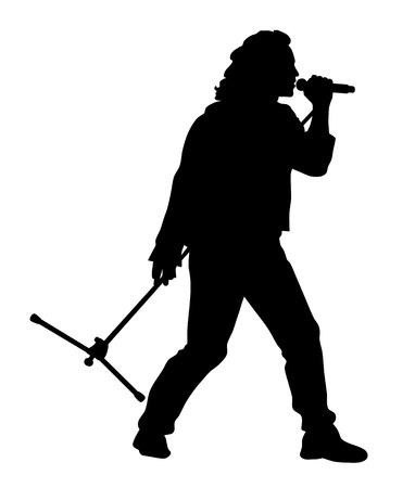 Ilustración de Abstract vector illustration of rock singer silhouette - Imagen libre de derechos