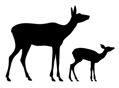 Ilustración de Vector illustration of doe and her baby silhouettes - Imagen libre de derechos