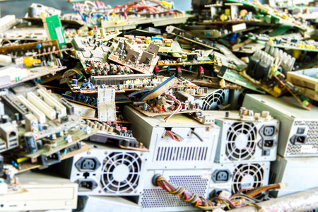 Photo pour Electronic waste ready for recycling(mainboard computer) - image libre de droit