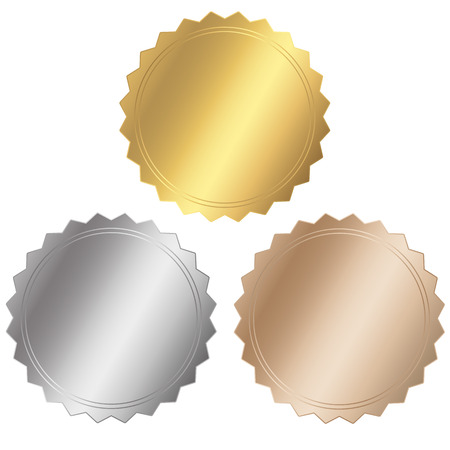 Illustration for three seal - gold, silver, bronze - Royalty Free Image