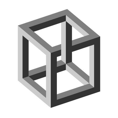 Illustration for optical illusion - unreal cube - Royalty Free Image