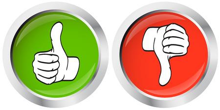 Illustration pour thumbs up - thumbs down buttons - image libre de droit