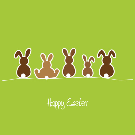 Happy Easter with five bunnies in a row