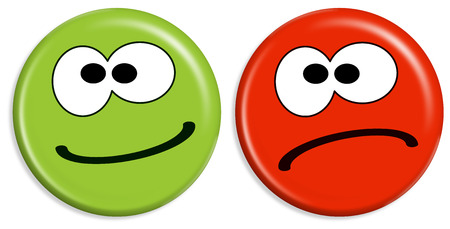 Illustrazione per red and green buttons with smileys having positive and negative face - Immagini Royalty Free