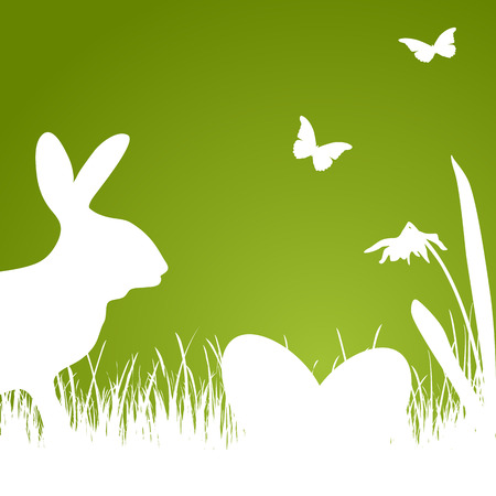 Easter background with green silhouette of rabbit, eggs and flowers