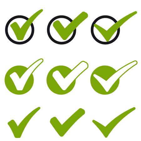 Illustration pour big collection of different green success check marks - image libre de droit