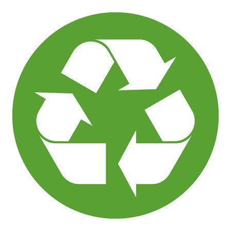 Ilustración de Recycling symbol white on green - Imagen libre de derechos