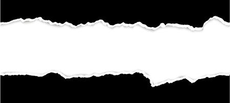 Illustration pour upper and lower part of ripped open paper colored black - image libre de droit