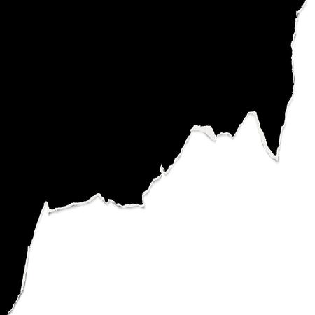 Ilustración de black ripped open paper edge with white background - Imagen libre de derechos