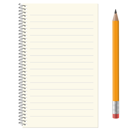 Illustration pour lined paper pad with copy space and yellow pencil - image libre de droit