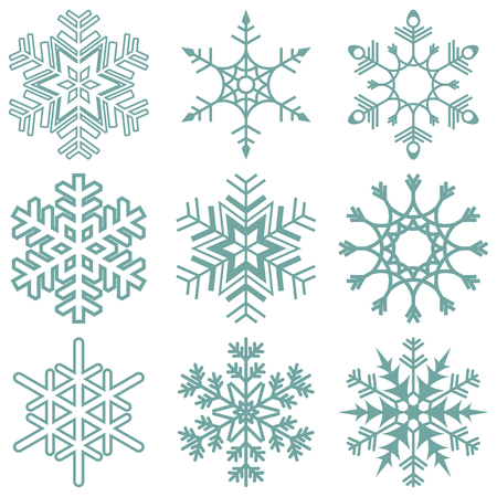 Illustration pour collection of different detailed snow flakes for christmas time - image libre de droit