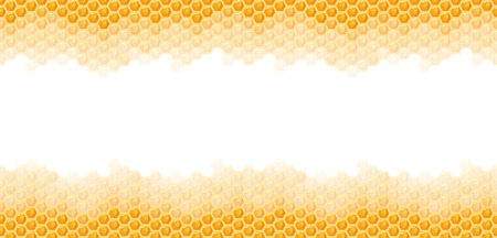 Illustration for seamless natural orange honey comb top and bottom sides background - Royalty Free Image