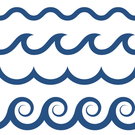 Ilustración de blue and white colored seamless Waves pattern - Imagen libre de derechos