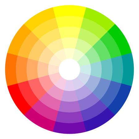 Illustration pour illustration of printing color wheel with twelve colors in gradations - image libre de droit