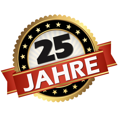 Illustration for round jubilee button with red banner and german text 25 years - Royalty Free Image