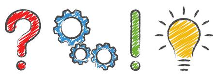 Ilustración de question mark, gear wheels, exclamation mark and light bulb concept icons symbolizing questioning, analysis, planning and idea - Imagen libre de derechos