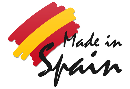Illustration pour seal of quality with country flag and text Made in Spain - image libre de droit