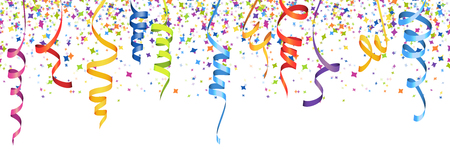 Ilustración de vector illustration of seamless multi colored confetti and streamers for carneval or party time on white background - Imagen libre de derechos