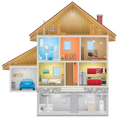 Ilustración de House Interior on White Background - Imagen libre de derechos