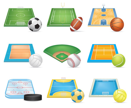Illustration pour Sport Fields Icons Set - image libre de droit
