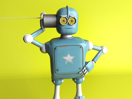 Photo pour The retro robot with tin can phone. 3d render. - image libre de droit