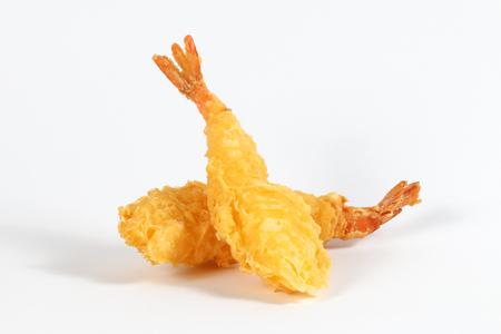 Photo for Prawn Tempura deep fried battered shrimp on white background  - Royalty Free Image