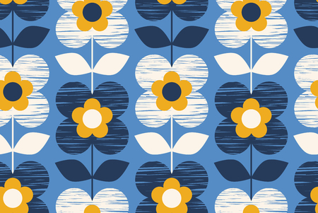 Illustration pour seamless retro pattern with flowers - image libre de droit