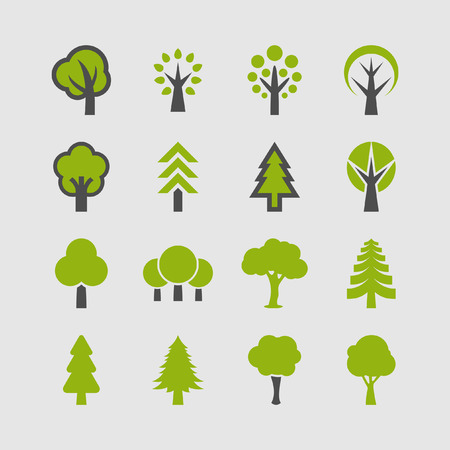 Illustration pour Trees icon set - image libre de droit