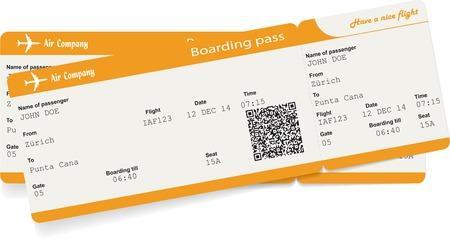 Ilustración de Vector image of two airline boarding pass tickets with QR2 code. Isolated on white. Vector illustration - Imagen libre de derechos