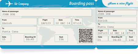 Illustration pour Vector image of airline boarding pass ticket with QR2 code. Isolated on white. Vector illustration - image libre de droit