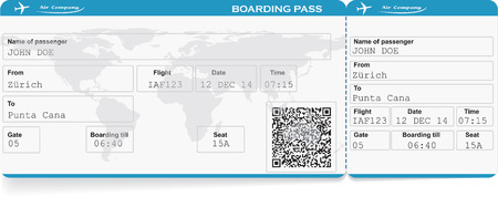Illustration pour Pattern of airline boarding pass ticket with QR2 code. Isolated on white. Vector illustration - image libre de droit