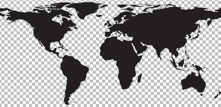 Illustration pour Black map of world on transparent background. Vector illustration - image libre de droit