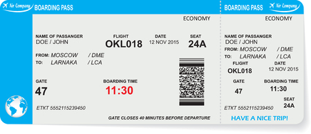 Illustration pour Pattern of airline boarding pass ticket with QR2 code. Concept of travel, journey or business. Isolated on white. Vector illustration - image libre de droit