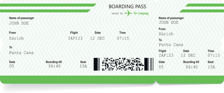 Illustration pour Airplane ticket blank. Green boarding pass - image libre de droit