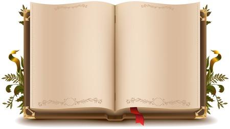 Illustration pour Old open book - image libre de droit