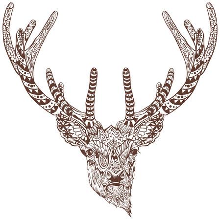 Ilustración de Antlered deer. Graphic drawing tattoo. Illustration in vector format - Imagen libre de derechos