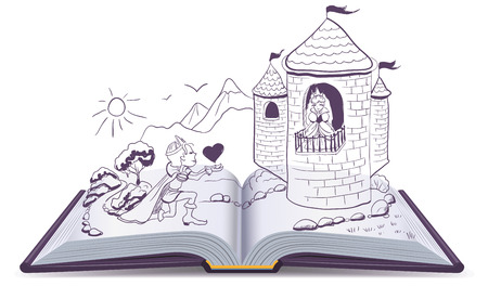 Illustration for Knight is kneeling in front of princess in castle. Open book. Illustration in vector format - Royalty Free Image