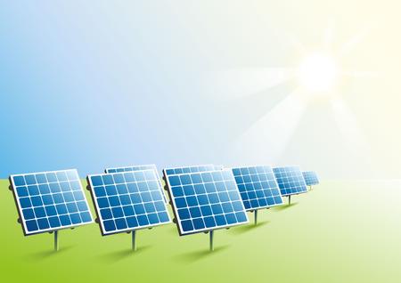 Ilustración de Solar power. Solar panels in field. Illustration in vector format - Imagen libre de derechos