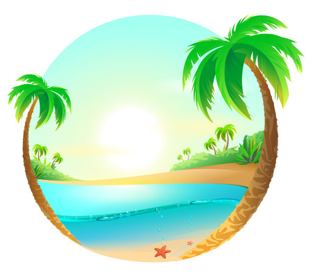 Illustration for Tropical beach among palm trees. Vector cartoon illustration - Royalty Free Image