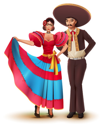 Illustration for Young woman and man in Mexican national traditional clothes. Isolated on white vector cartoon illustration. - Royalty Free Image