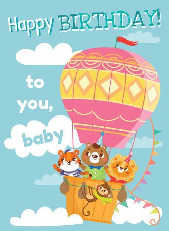 Illustration pour Birthday greeting cards with cute animals. Funny animals on hot air balloon. Vector illustration. - image libre de droit