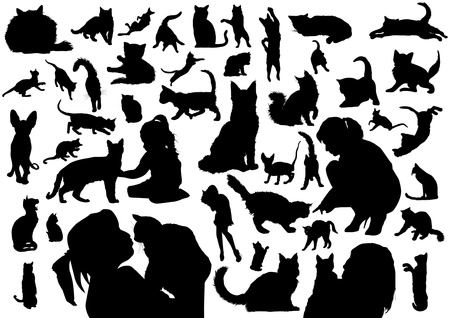 Illustration for Cats silhouettes - Royalty Free Image