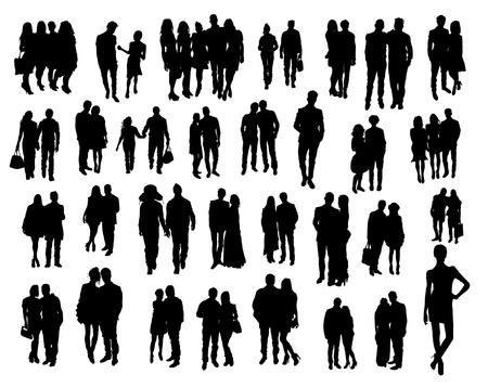 Illustration pour Couples silhouettes - image libre de droit