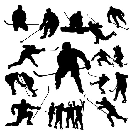 Illustration for Hockey players silhouette - Royalty Free Image