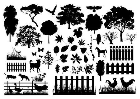 Illustration for Farm silhouettes - Royalty Free Image