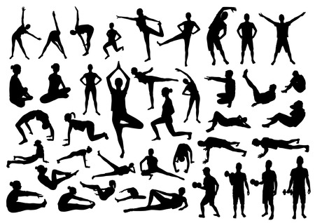 Foto de Fitness silhouettes - Imagen libre de derechos